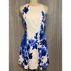 Lauren Ralph Lauren Blue & White Cotton Dress 8